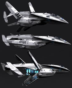 These are close to what I imagine Thorne's stolen military spaceship looks like. Spaceship Art, Spaceship Design, Cyberpunk, Concept Ships, Concept Art, Space Fighter, Starship Concept, Sci Fi Spaceships, Future Weapons