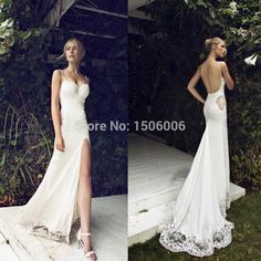 Beach 2015 High Slit Beach Wedding Dresses Sexy Spaghetti Straps Flower Lace Appliques Side Cut Out Backless Bridal Gowns Summer-in Wedding Dresses from Weddings & Events on Aliexpress.com   Alibaba Group