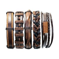 5 Stück handgefertigten Leder Armband Set Mens Womens geflochten wickeln Braclet 5P-184