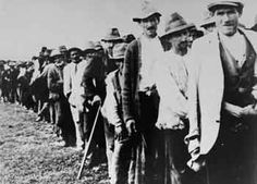 Serbs and Gypsies who have been rounded up for deportation are marched to the Kozara and Jasenovac concentration camps.