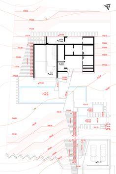 House & garden on a steep terrain on Behance Bedrooms, Floor Plans, Home And Garden, House Design, How To Plan, Landscape, Garage, House Ideas, Behance