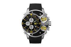 Relógio quartzo de silicone - Preto e prateado