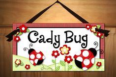 Little Ladybug Baby Girls Nursery Bedroom DOOR SIGN Wall Art. $14.00, via Etsy.