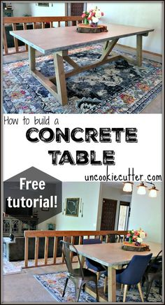 Concrete Table tutorial - full details at UncookieCutter.com