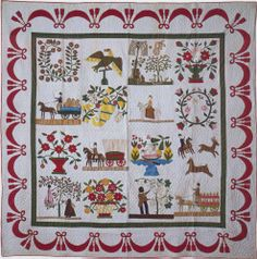 Simplistic story quilt.       Album Quilt, 1873. Made by Catherine Cox Williams. Ohio.