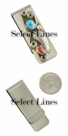 Other Native American Jewelry 11315: Sterling Silver Turquoise And Coral Money Clip Navajo Native American BUY IT NOW ONLY: $33.0