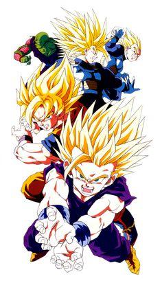 Gohan, Goku, Trunks, Vegeta, and Piccolo