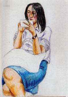 デニムのタイトスカートのお姉さん(通勤電車でスケッチ)A sketch of the lady who put on a denim skirt. It was drawn by commuter train.