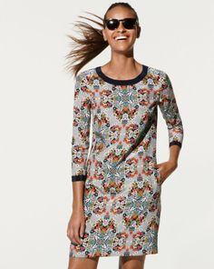 J.Crew misty fog floral shift dress - great find