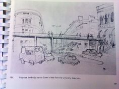Bristol Plan 1966. A footbridge across Queen's Road heading over to, what is now, Brown's.