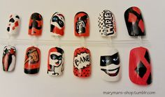 OMG! Villian Nails!!! Ahhh, this is a must have!! Harley Quinn Nail Art by MaryMars on Etsy, $20.00