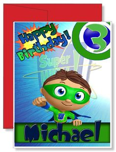 Personalized Birthday Greeting Card Super Why Birthday Greeting Cards, Birthday Greetings, Happy Birthday, Birthday Parties, Birthday Gifts, Super Why Party, Super Why Birthday, Personalized Greeting Cards, Personalized Gifts