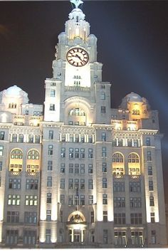 Liverpool-liver buildings at night so lovely♥