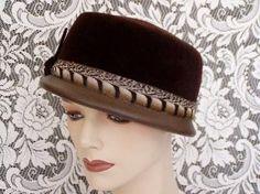 brown velvet box hat