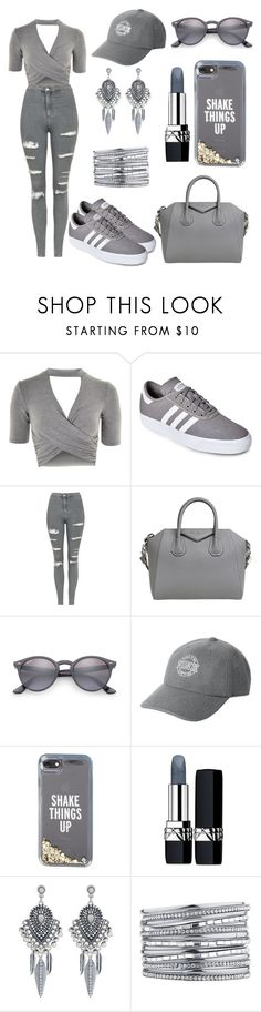 """""""all grey ❤"""" by carinarita2002 ❤ liked on Polyvore featuring Topshop, adidas, Givenchy, Ray-Ban, Victoria's Secret, Kate Spade, Christian Dior and Accessorize"""