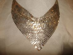 Vintage 1970's Silver Mesh Scarf Necklace  by PastPossessionsOnly