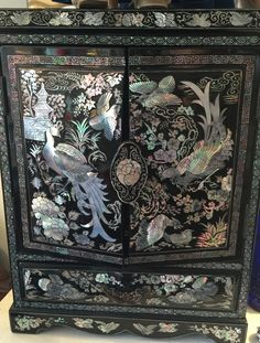 1950 S Black Lacquer Jewelry Box Cabinet With Mother Of Pearl Inlay Chinese Furniture Asian