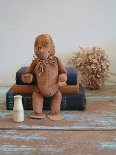 vintage straw stuffed monkey