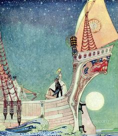 'The ship headed about and sped over the depths of the sea'. One of the illustrations for 'The man who never laughed' from 'In Powder and Crinoline' by Kay Nielsen.