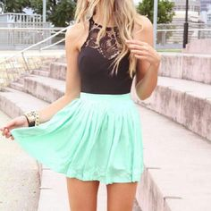 3f4d63088c I love the skater skirt and lace tank top.Could be dressy