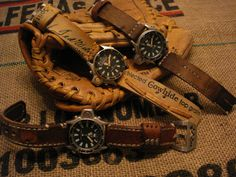 Watchbands from recycled baseball gloves.  Not even really a baseball fan, but this is just cool..,