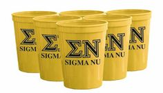 Campus Classics - Sigma Nu Yellow Plastic Cup: $2.00 Sorority Outfits, Fraternity