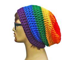Rainbow Beanie - Slouch - Mens or Unisex- Ultimate Slacker Striped Beanie Hat- Pride