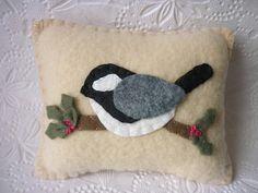 Felt Bird Chickadee Pillow Holly Felted Wool by pennysbykristie