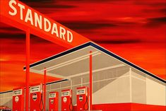 """Edward Ruscha, Standard Station, 1986, oil on canvas, 51"""" x 96"""", Portland Art Museum, Photo by loop_oh via Flickr, Creative Commons Attribution-NoDerivs 2.0 Generic License."""