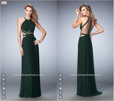 La Femme Prom style - 22286 long prom dress - green prom dress - formal dress - sheer sides - sheer back - gathered bodice - gathered skirt Matric Dance Dresses, Prom Dresses, Long Dresses, Sheer Dress, Dress Up, Formal Prom, Formal Dresses, Net Gowns, Modelos Fashion