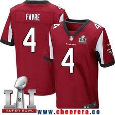 Men's Atlanta Falcons #4 Brett Favre Red Team Color 2017 Super Bowl LI Patch Stitched NFL Nike Elite Jersey