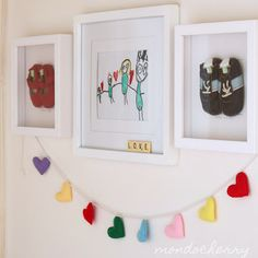 Cute felt hearts! Took me awhile to find the post under daughter's ballet class! Not a tutorial, but I love the heart banner AND the scrabble letters in the frame spelling out love. Thank you, Mondocherry for more great ideas!