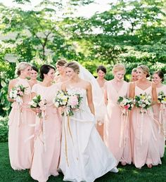 The bride's hair. And the style of the bridesmaid dresses!