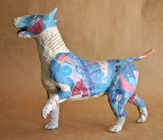 Love this...Whimsical Paper Mache Dog Sculpture Custom by PaperPort