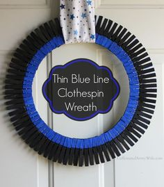 Law Enforcement Clothespin Wreath, Thin Blue Line Colors. ~ Caffeinatedarmywife.com Wreath Crafts, Diy Wreath, Clothespin Crafts, Wreath Ideas, Wreath Making, Cute Crafts, Crafts To Make, Easy Crafts, Police Crafts