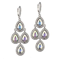 Iridescent Teardrop with Pave Accent Chandelier Earrings ... http://www.amazon.com/dp/B00T4Y3KI2/ref=cm_sw_r_pi_dp_Sf4oxb09GVDD5