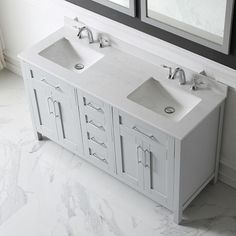Home Decorators Collection Riverdale 60 in. W x 21 in. D Vanity in White with a Cultured Marble Vanity Top in White with White Sink-Riverdale - The Home Depot vanities Double Sink Double Sink Bathroom, Double Sink Vanity, Single Sink Bathroom Vanity, Vanity Sink, Small Bathroom, Bathrooms, Bathroom Ideas, Bathroom Vanities, Master Bathroom
