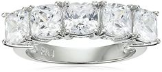Rhodium Plated Sterling Silver Cubic Zirconia Cushion Cut FiveStone Ring 23 cttw Size 6 >>> To view further for this item, visit the image link.(It is Amazon affiliate link) #followback