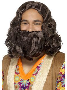 Jeesus peruukki ja parta. Soveltuu hippiaiheisiin bileisiin.