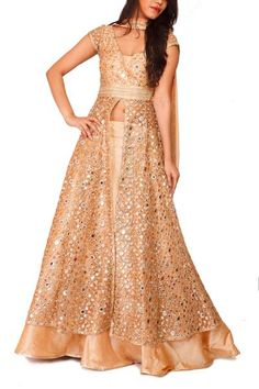 Buy Collective Mirrorwork Kalidar Jacket with Lehenga online in India at best price.All over faux-mirror work kalidar jacket paired with circular flared lehenga in silk Surplice neckline Party Wear Indian Dresses, Indian Gowns Dresses, Dress Indian Style, Lehenga Wedding, Party Wear Lehenga, Indian Attire, Indian Outfits, Indian Clothes, Indian Wear