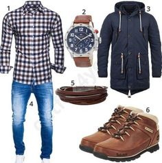 Men's outfit with plaid Kayham shirt, warm blend Ceasar Parka, Tommy Hilfiger …. Men's outfit with plaid Kayham shirt, warm blend Ceasar Parka, Tommy Hilfiger … Komplette Outfits, Casual Winter Outfits, Tomboy Fashion, Denim Fashion, Stylish Men, Men Casual, Mode Man, Herren Style, Future Clothes