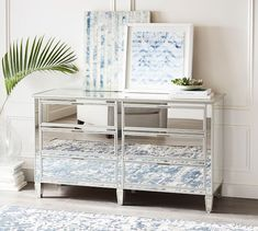 Mirrored furniture always makes a bold design statement. Our Park Extra Wide Dresser is mirrored on the front, sides and top, and beautifully evokes the symmetry of early Empire furniture. Mirrored Bedroom Furniture, Mirrored Nightstand, Dresser With Mirror, Refurbished Furniture, Rustic Furniture, Furniture Decor, Furniture Sale, Painted Furniture, Outdoor Furniture