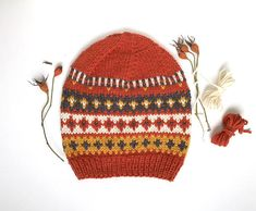Orange Nordic Beanie Fair Isle Hat Slouchy Wool Beanie Beanie Pattern, Knit Beanie Hat, Fair Isle Knitting, Hand Knitting, Tejido Fair Isle, Knitted Hats Kids, Alpaca Wool, Knitting Patterns, Knitwear