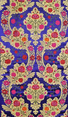 Fabric Patterns Mazarine-Blue Tibetan Brocade Fabric from Banaras with Hand-woven Roses Textile Patterns, Textile Design, Print Patterns, Textiles, Design Patterns, Pattern Art, Estilo Kitsch, Paisley, Bohemian Tapestry