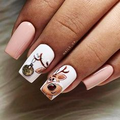 Christmas Gel Nails, Holiday Nails, Xmas Nail Art, Trendy Nail Art, Stylish Nails, Manicure E Pedicure, Gel Manicures, Manicure Ideas, Best Acrylic Nails