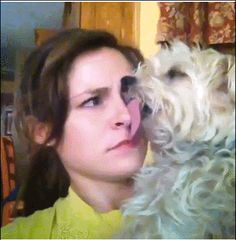 Her face ran into the pup's tongue so, whatever. This is how it will be forever. | 27 Animals Who Don't Give A F**k