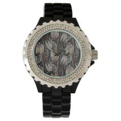 Dark pattern beautiful  Tulip florish design Wristwatches