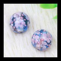 2 PCS Handmade Lampwork Beads 3D Flower by Girljewelrybox on Etsy