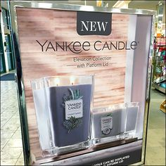 """This New Yankee Candle Freestanding Sign plays off the fact that """"New"""" is one of the most read words in advertising ranking up there with """"Free"""" and """"Sale. Retail Fixtures, Store Fixtures, Candle Store, Merchandising Displays, Candles, Signs, Candle Shop, Shop Signs, Candy"""
