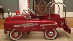 Vintage Murray Sad Face Pedal Car Fire Dept Engine No 9 Hook and Ladder Truck